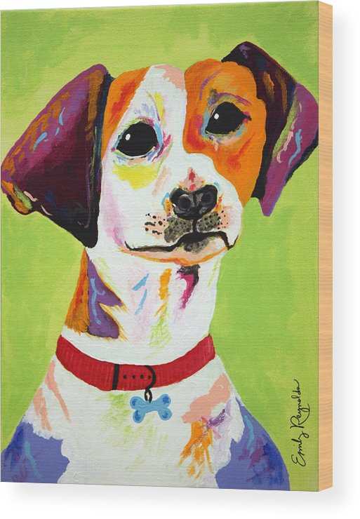 Dog Wood Print featuring the painting Roscoe The Jack Russell Terrier by Emily Reynolds Thompson