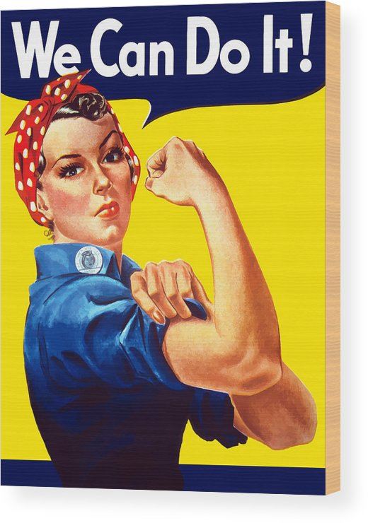 Rosie The Riveter Wood Print featuring the painting Rosie The Rivetor by War Is Hell Store