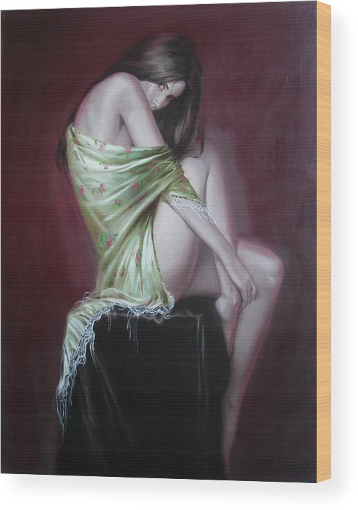 Art Wood Print featuring the painting Russian Model by Sergey Ignatenko
