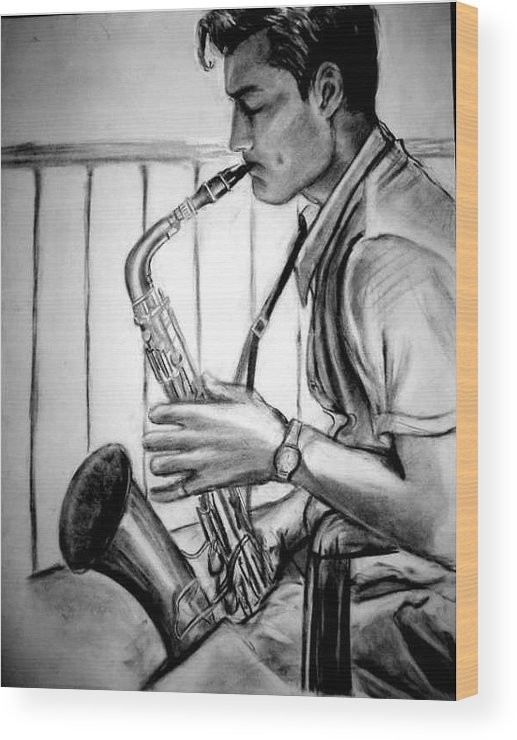 Handsome Man Wood Print featuring the drawing Saxophone Player by Laura Rispoli