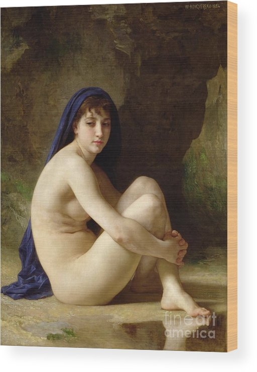 Female; Sitting; Naked; Bare; Cross-legged; Water; Headscarf; Distracted; Thoughtful; Pensive; Reflection; Neo-classical; Blue Cloak; Outdoors; Sat Wood Print featuring the painting Seated Nude by William Adolphe Bouguereau