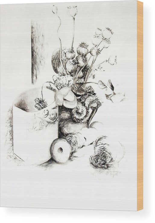 Still Life Wood Print featuring the drawing Sec by Muriel Dolemieux