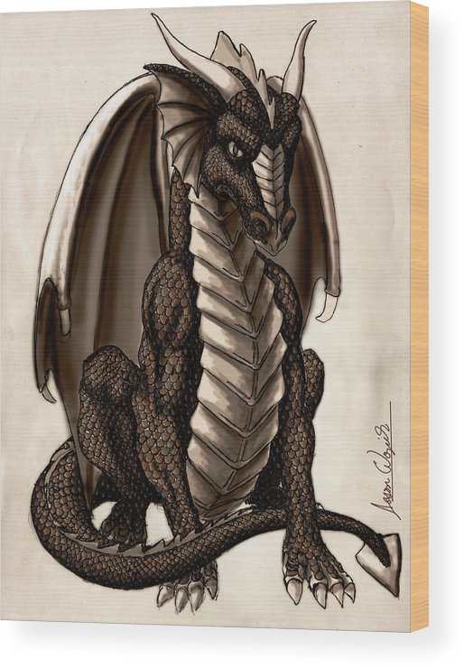 Dragon Wood Print featuring the digital art Sepia Dragon by Jason Wojcik