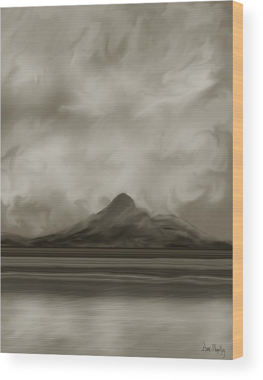 Wyoming Wood Print featuring the painting Sleeping Giant And Beck Lake by Anne Norskog