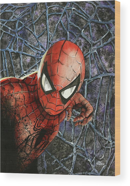 Spiderman Wood Print featuring the painting Spiderman by Marc Brawner
