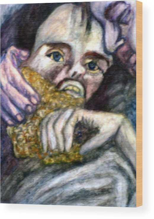 Spiritual Portrait Wood Print featuring the painting Sponge Christ Your Eyes by Stephen Mead