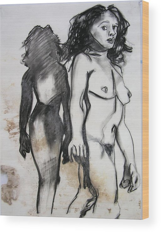 Charcoal Wood Print featuring the drawing Startled by Brad Wilson