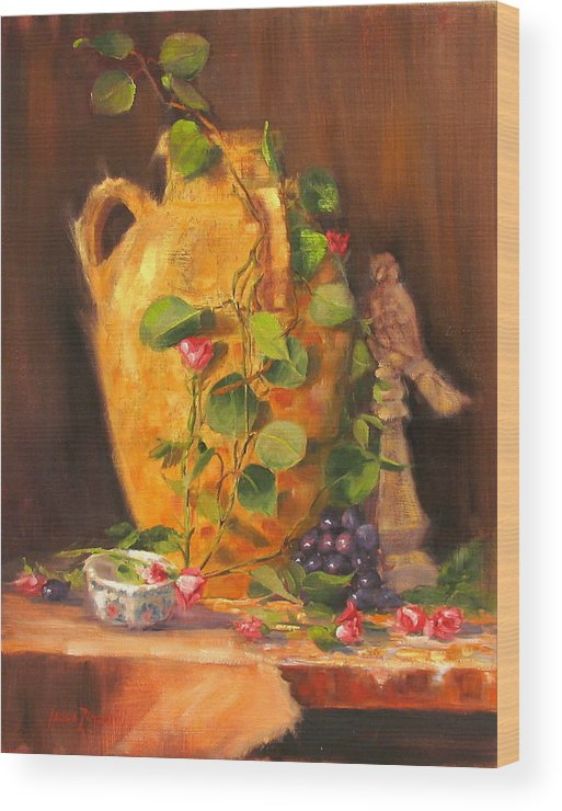 Oil Painting Wood Print featuring the painting Still Life With Urn by Laura Lee Zanghetti
