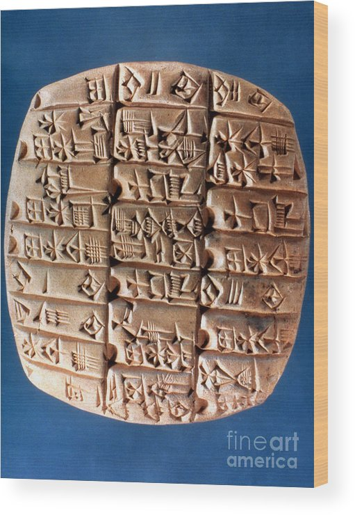 3rd Millennium B.c Wood Print featuring the photograph Sumer Tablet Of Accounts by Granger