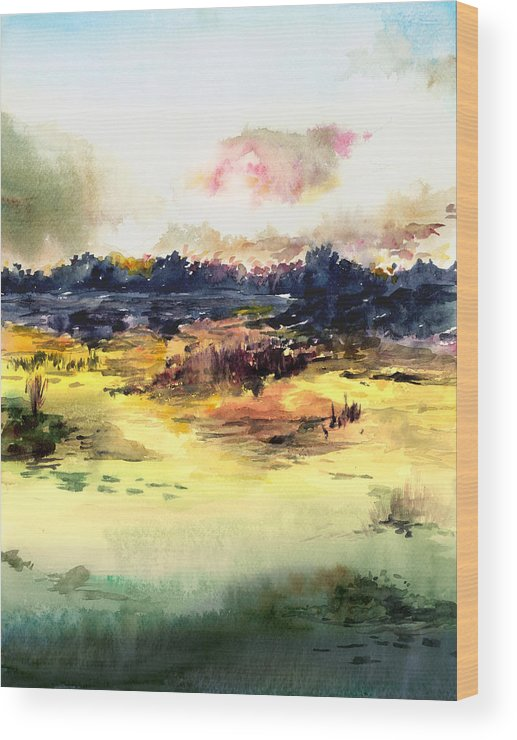 Landscape Water Color Sky Sunrise Water Watercolor Digital Mixed Media Wood Print featuring the painting Sunrise by Anil Nene