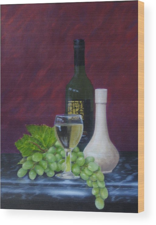 Grapes Wood Print featuring the painting Tempus Two by Brett McGrath