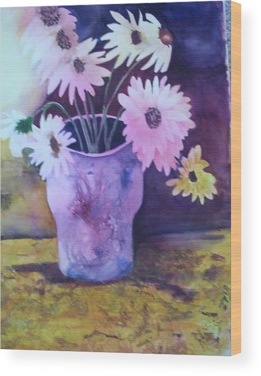 Floral Wood Print featuring the painting Textured Vase by Audrey Bunchkowski
