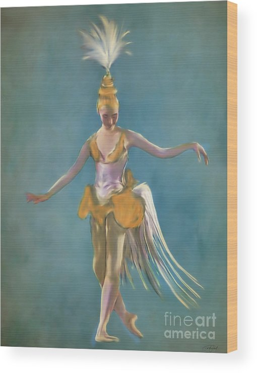 Portrait Wood Print featuring the painting Thai Ballerina by Ted Guhl