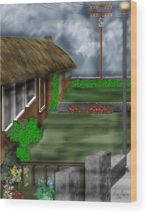 Cottages Wood Print featuring the painting Thatched Roof Cottages In Ireland by Anne Norskog