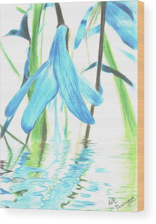 Flower Wood Print featuring the painting The Beauty Of Watery Reflection by Aditi Dewangan
