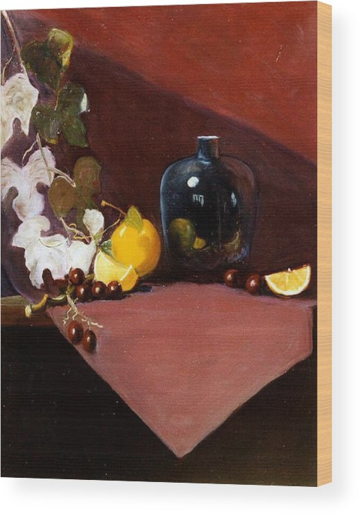 Still Life Wood Print featuring the painting The Black Vase by Jeanene Stein