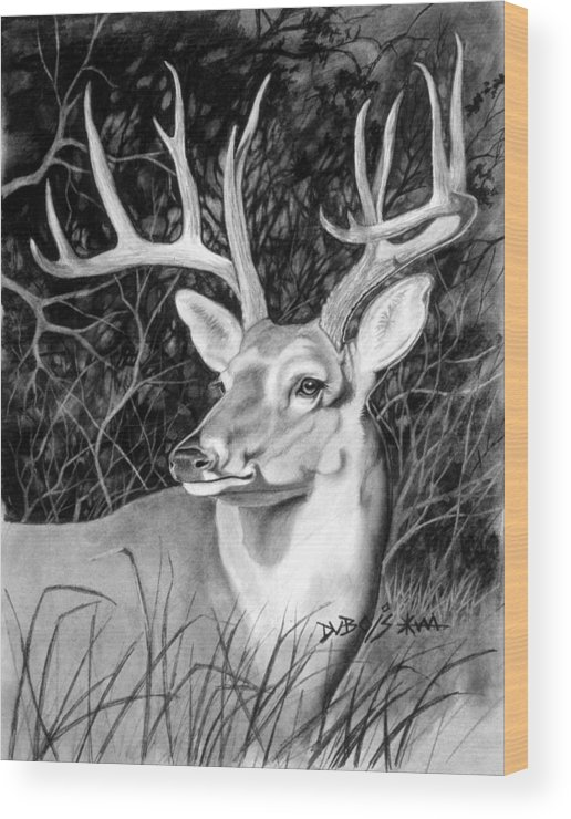 Deer Wood Print featuring the drawing The Buck by Howard Dubois