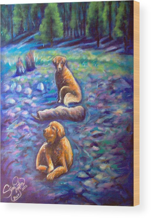 Animals Wood Print featuring the painting The Golden's by Steve Lawton