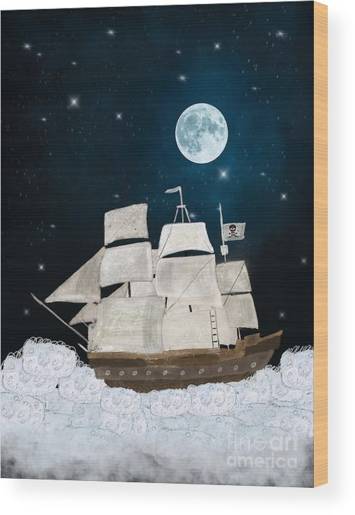 Pirates Wood Print featuring the painting The Pirate Ghost Ship by Bri Buckley