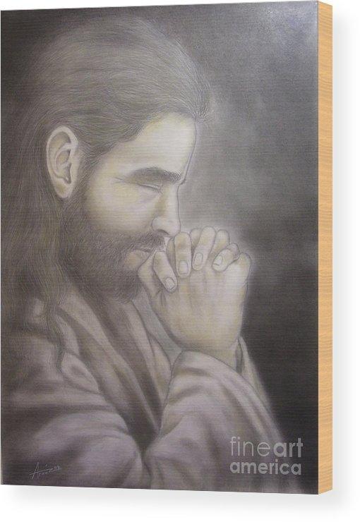 Portrait Wood Print featuring the drawing The Prayer by Oscar Arauz
