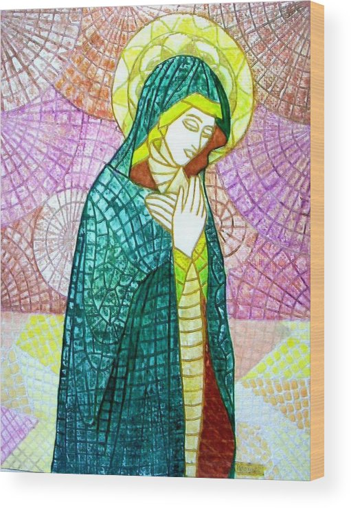 Wood Print featuring the mixed media The Virgin by Victor Madero