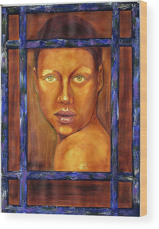 Portrait Wood Print featuring the painting The Window by Dan Earle