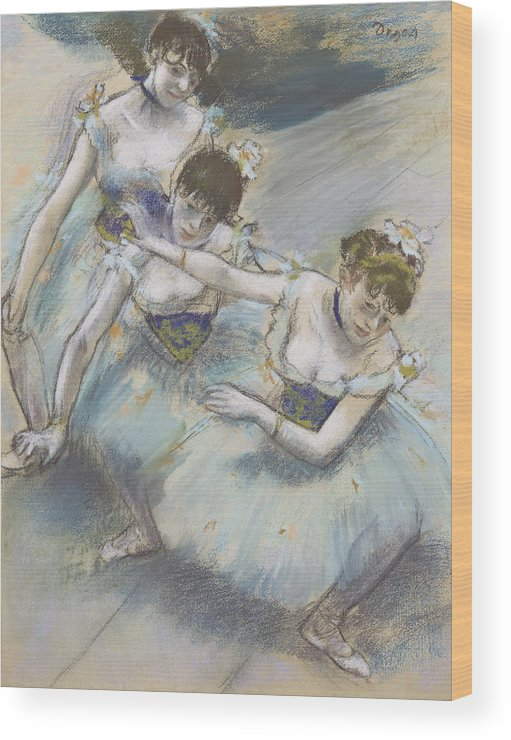Edgar Degas Wood Print featuring the drawing Three Dancers In A Diagonal Line On The Stage by Edgar Degas