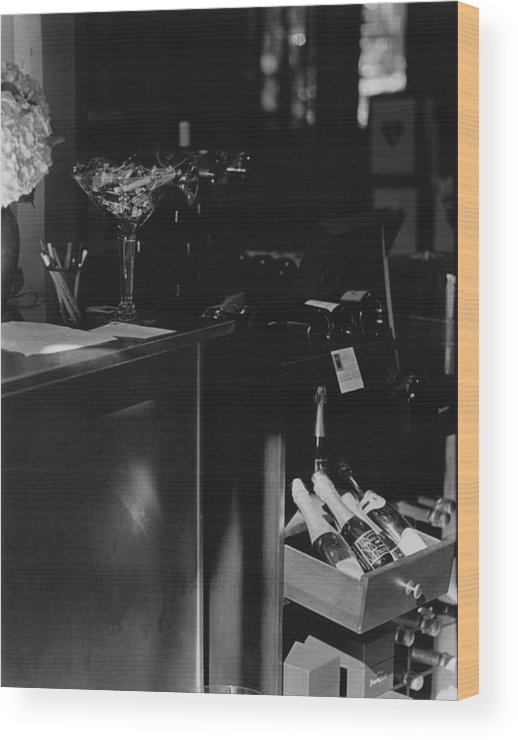 Still Life Wood Print featuring the photograph Through The Wine Shop Window by Jim Furrer