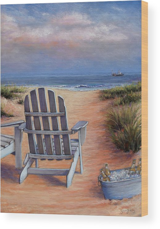 Landscape Wood Print featuring the pastel Time To Chill by Susan Jenkins