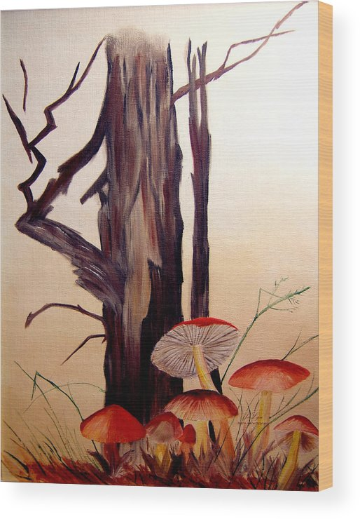 Tree Wood Print featuring the print Tree And Mushrooms by JoLyn Holladay