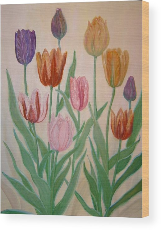 Flowers Of Spring Wood Print featuring the painting Tulips by Ben Kiger
