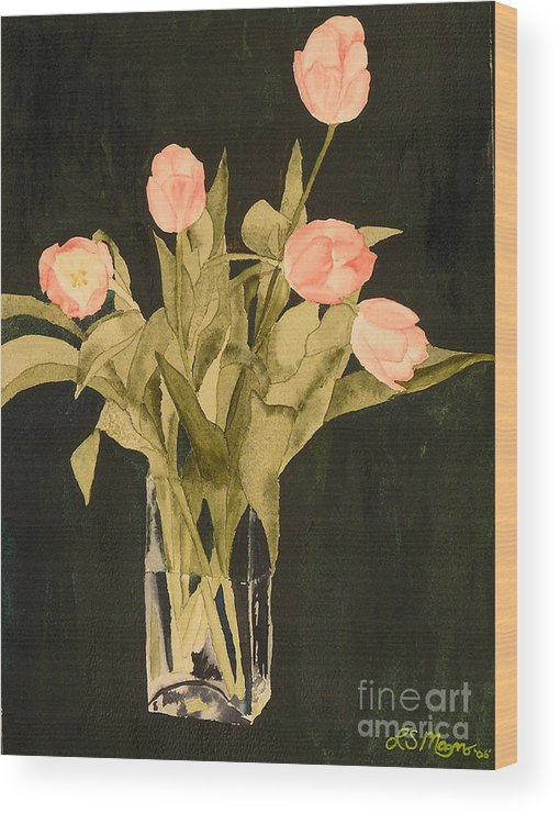Tulips Wood Print featuring the painting Tulips On Velvet by Louise Magno