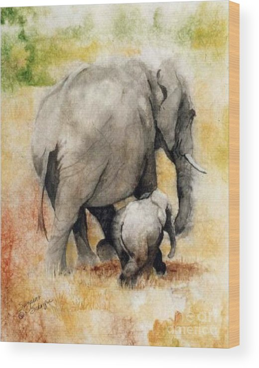 Elephants Wood Print featuring the painting Vanishing Thunder Series - Mama And Baby Elephant by Suzanne Schaefer