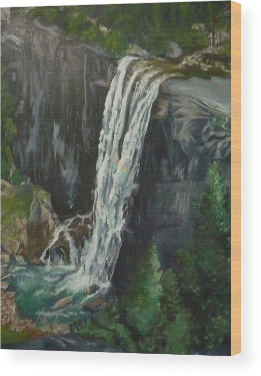 Vernal Falls Wood Print featuring the painting Vernal by Travis Day