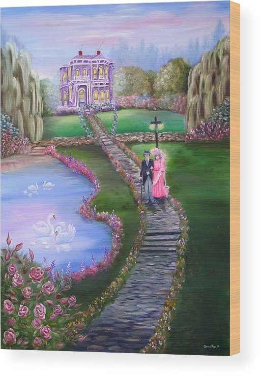 Victorian Wood Print featuring the painting Victorian Romance 2 by Quwatha Valentine