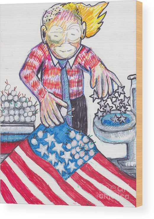 American Flag Wood Print featuring the drawing Watch Out Mis-chief by Susan Brown  Slizys art signature name