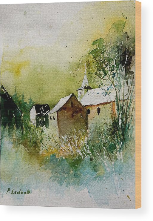 Landscape Wood Print featuring the painting Watercolor Sosoye by Pol Ledent
