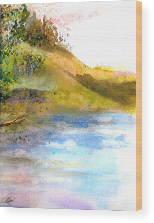 Landscape Wood Print featuring the painting Waters Edge by Vivian Mosley