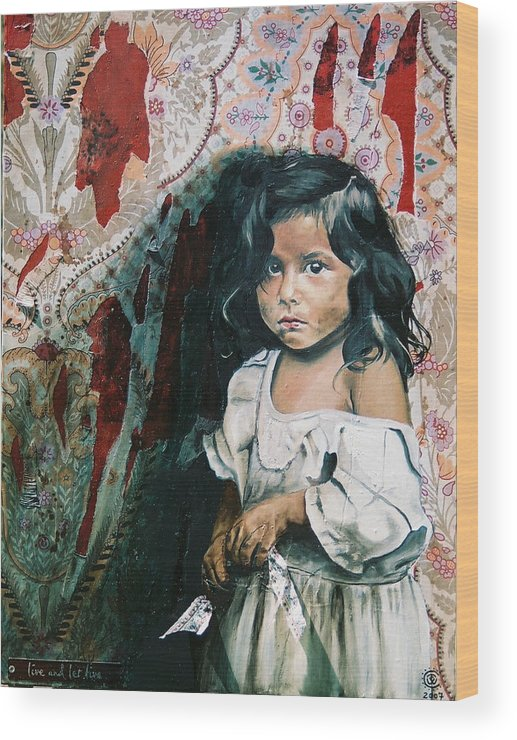 Asian Girl Wood Print featuring the painting What Is My Worth by Teresa Carter