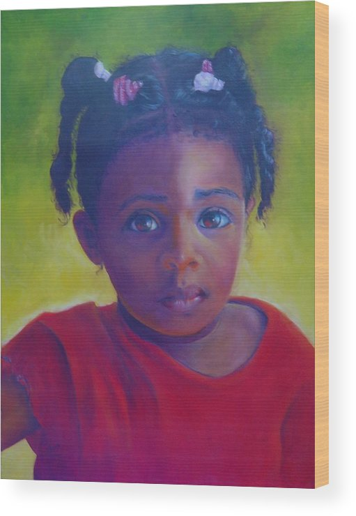 Child Wood Print featuring the painting Where Is My Mommy by Merle Blair