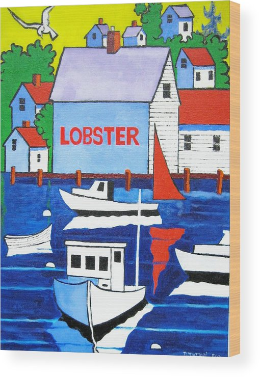 Lobster Shack Wood Print featuring the painting White Lobster Shack by Nicholas Martori