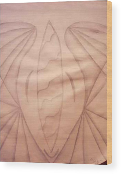 Abstract Wood Print featuring the drawing Wings by Natalee Parochka