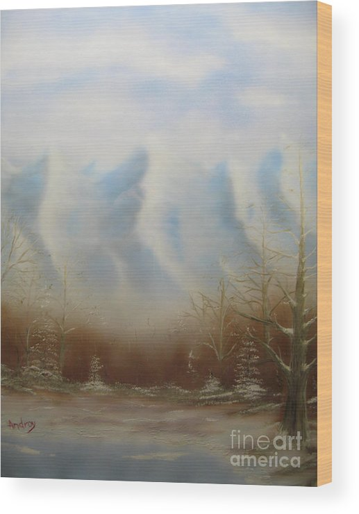 Mountains Wood Print featuring the painting Winter Mountains by Todd Androy
