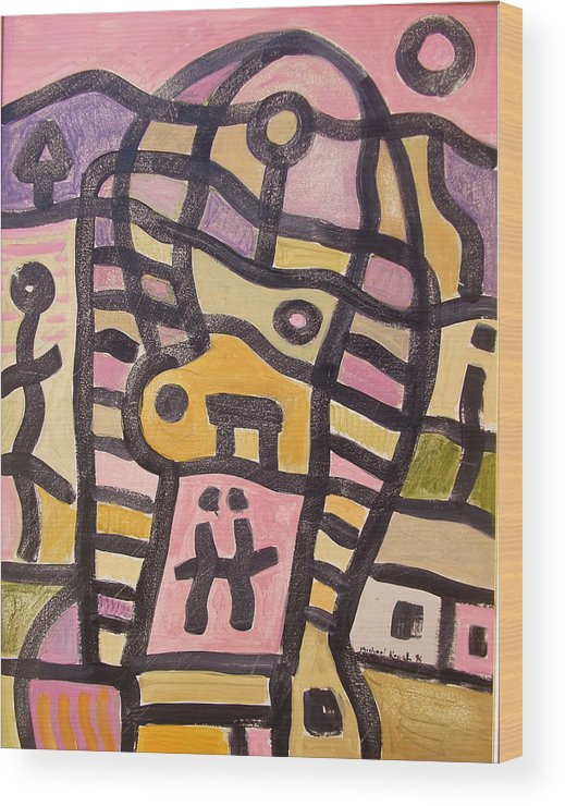 Abstract Wood Print featuring the painting Woman In Pain by Michael Keogh