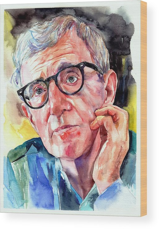 Painting Wood Print featuring the painting Woody Allen Portrait Painting by Suzann Sines