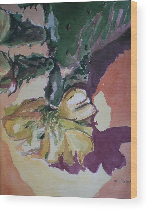Wood Print featuring the painting Yellow Blossom Purple Shadow by Aleksandra Buha