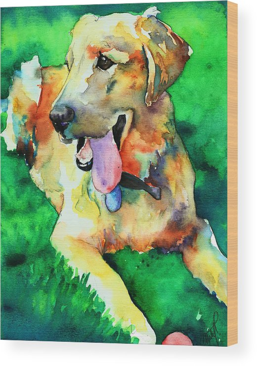 Yellow Lab Wood Print featuring the painting Yellow Labrador by Christy Freeman