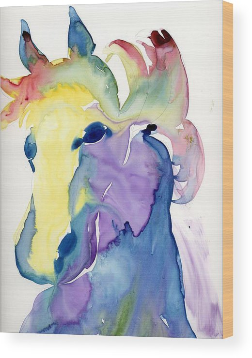 Horse Wood Print featuring the painting Yupo Horse by Janet Doggett