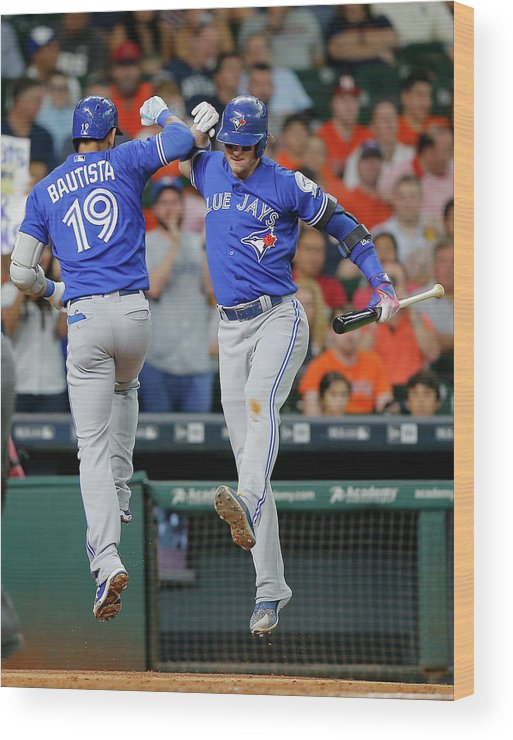 People Wood Print featuring the photograph Toronto Blue Jays V Houston Astros 2 by Bob Levey