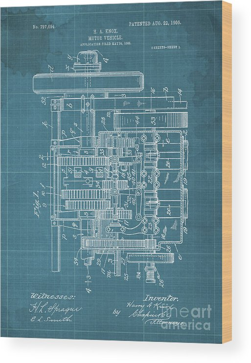 Wood Print featuring the drawing Motor Vehicle Patent Colored Vintage Art Print Year 1905 Blueprint 22 by Drawspots Illustrations